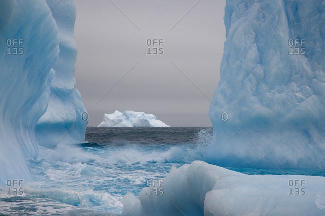 UK Territory, South Georgia Island. Blue-tinged icebergs frame a distant iceberg.