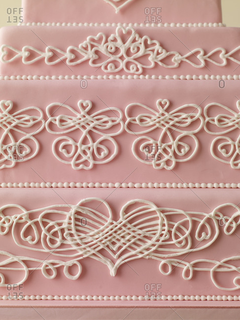 Close-up of decorated wedding cake