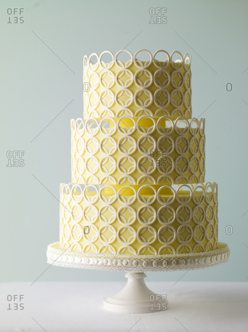 Tiered wedding cake on a table