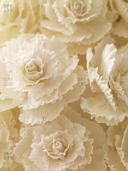 White roses made of fondant