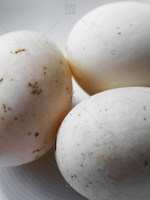 Three organic duck eggs
