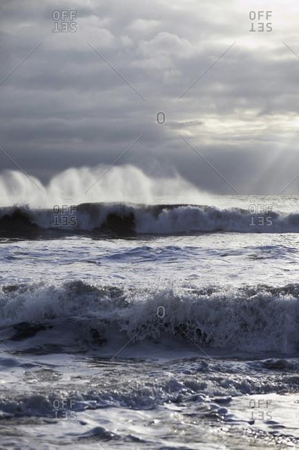 Waves crashing at Rodeo Beach, California