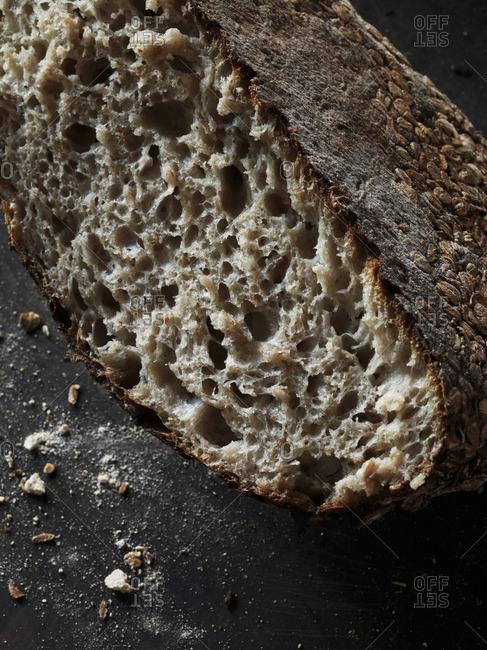 Close-up of a halved sourdough bread