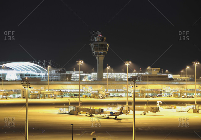 View of Munich airport at night, Germany