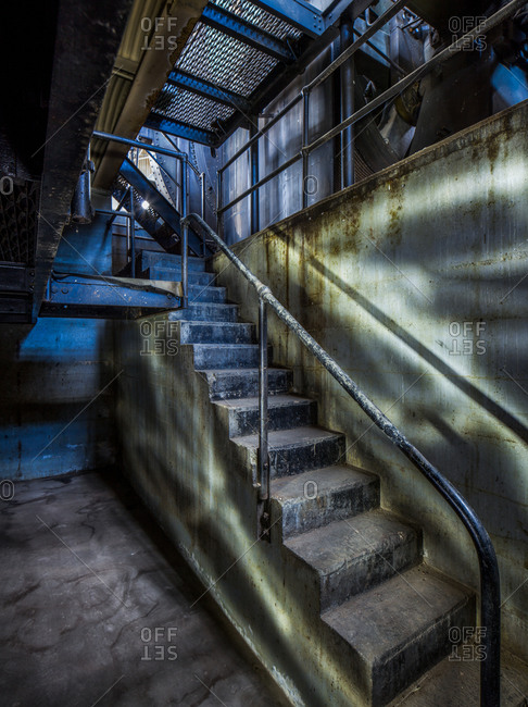 Staircase in abandoned complex.