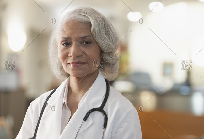 Black doctor standing in hospital