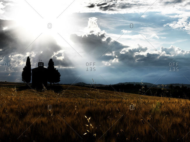 Scenic sky behind the silhouette of church