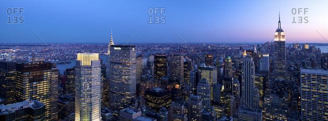 New York City skyline aerial panorama view at night