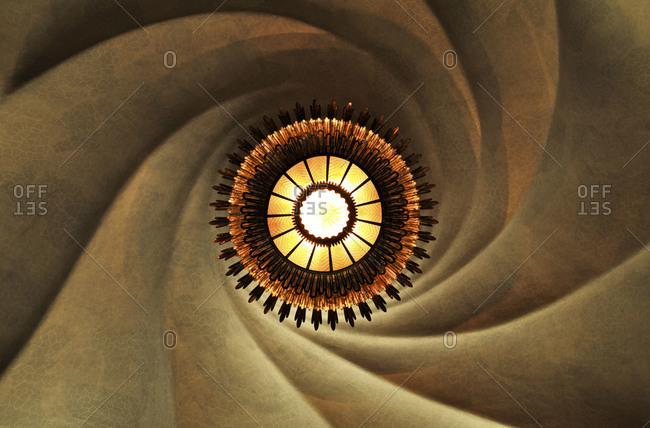 Elegant ceiling lamp from below.