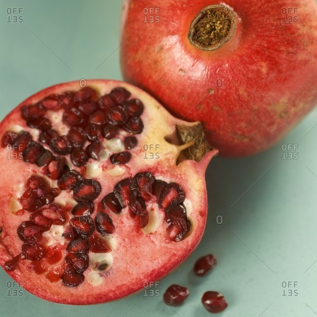 Pommegranate fruit cut in half