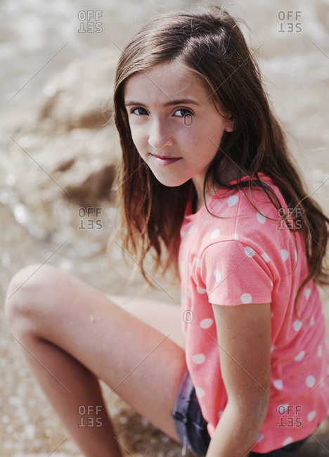 Portrait of young girl at the beach