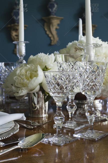 Close up of elegant table setting