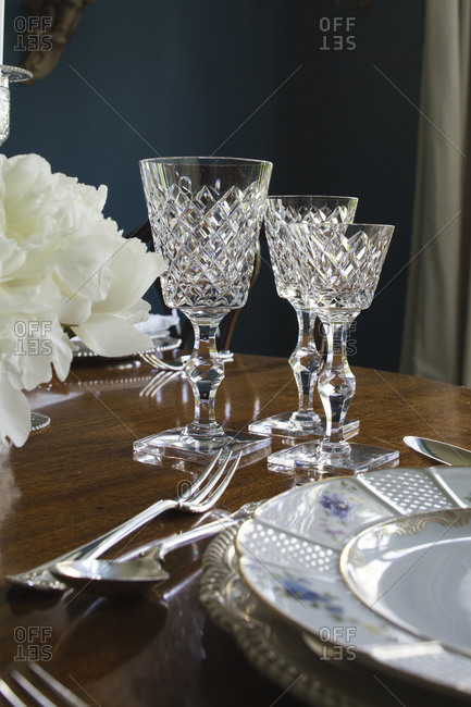 Close up of elegant table setting