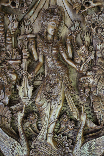 Close up of Thaiwooden carving