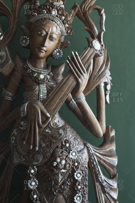 Close up of Thaiwooden statue