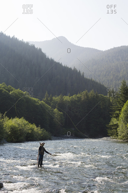 Man fly fishing in the river