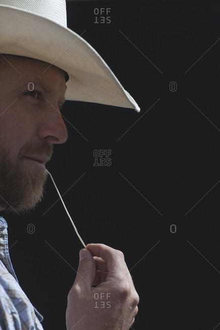 Portrait of man chewing on a straw