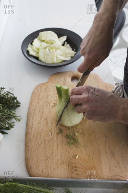 Slicing up a fennel bulb