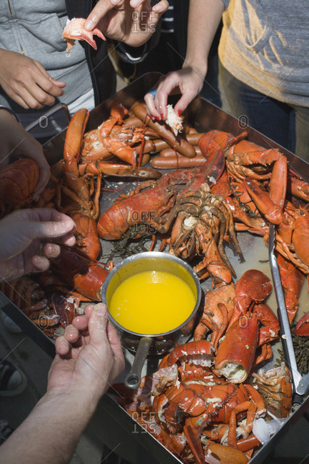 Tray of lobsters with melted butter
