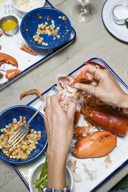 Cracking open lobster claws