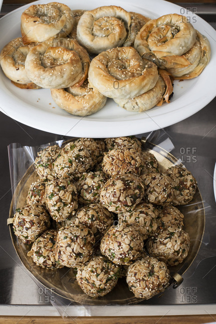 Turkish meatballs and pastry rolls