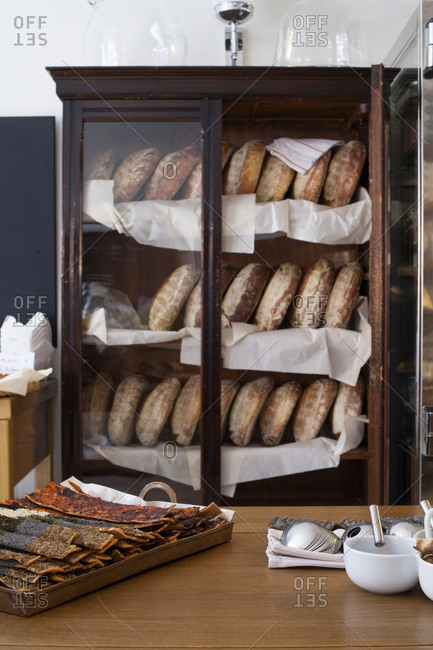 Fresh bakery products on display