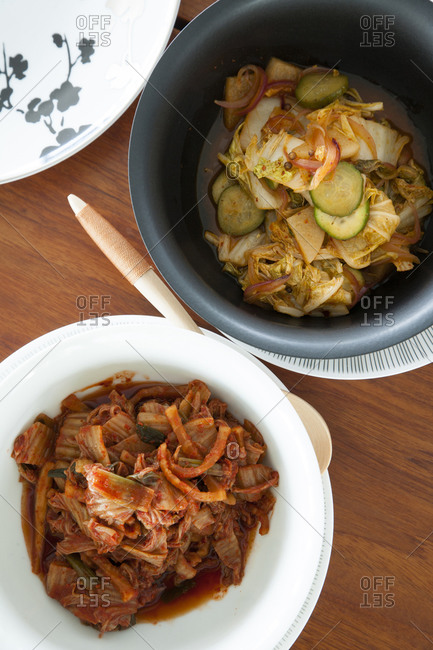 Top view of  Kimchi and side dish of vegetables