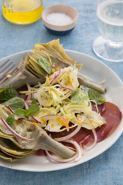 Artichoke salad on a table