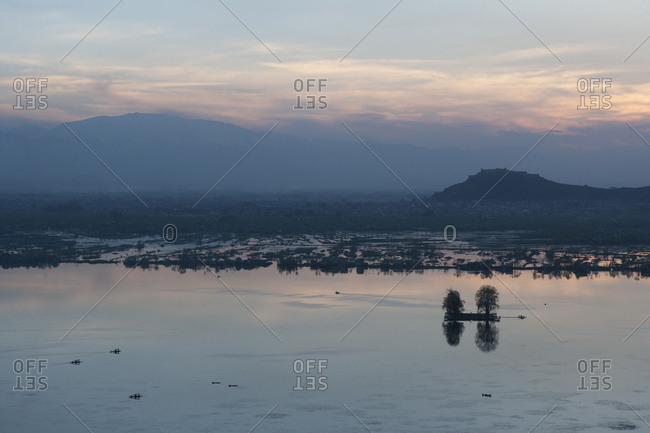 Sunset over scenic landscape in Asia