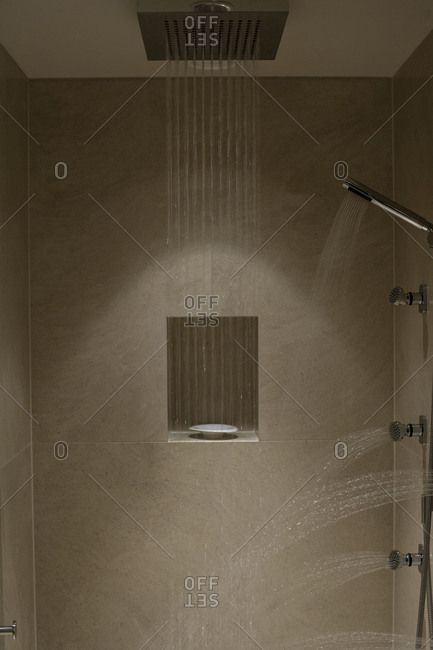 Spray of water in a bathroom
