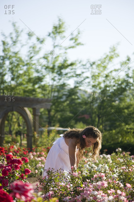Teenage girl (16-17) in white dress picking up flowers