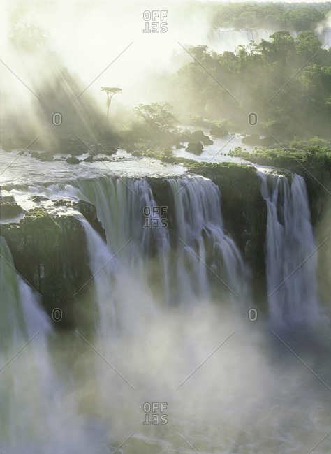 Large waterfall in jungle