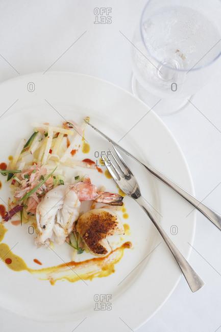 Pan seared shrimp and scallops, Jicama, Radish, Sweet Ginger Salad, Light Green curry sauce