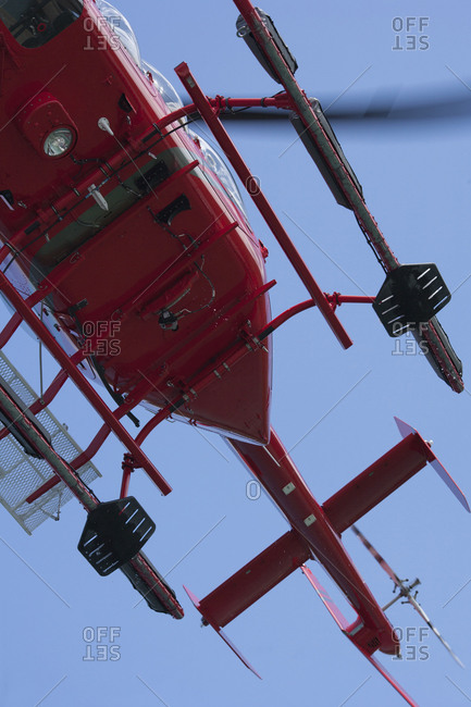 View of helicopter in flight from directly below