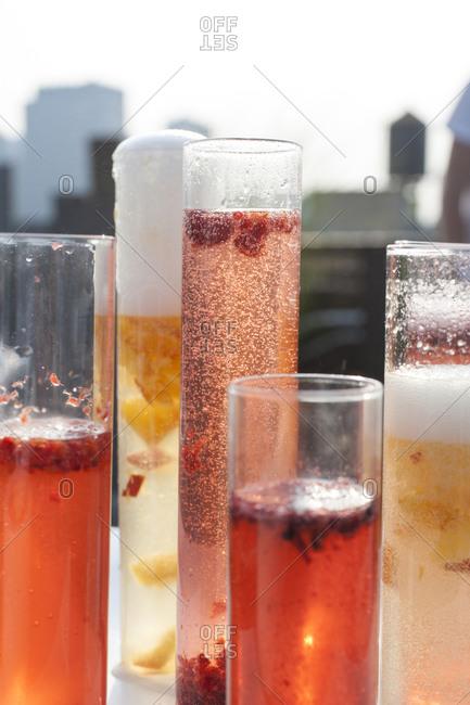 Fruit Bellini cocktails on tabletop
