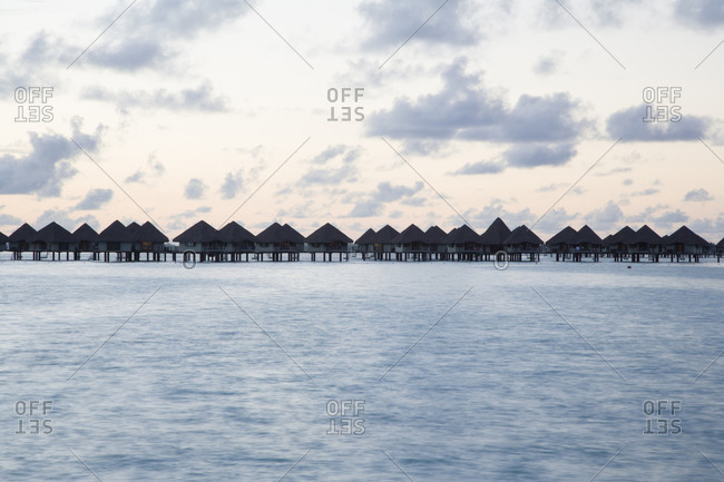 Overwater bungalows in a row
