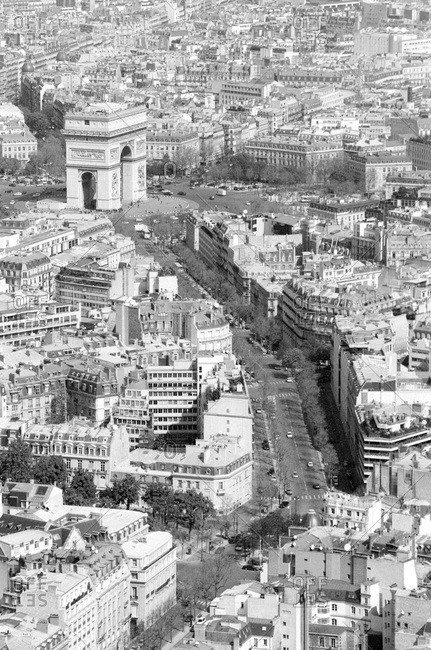 Cityscape looking towards Arc de Triomphe, Paris, France