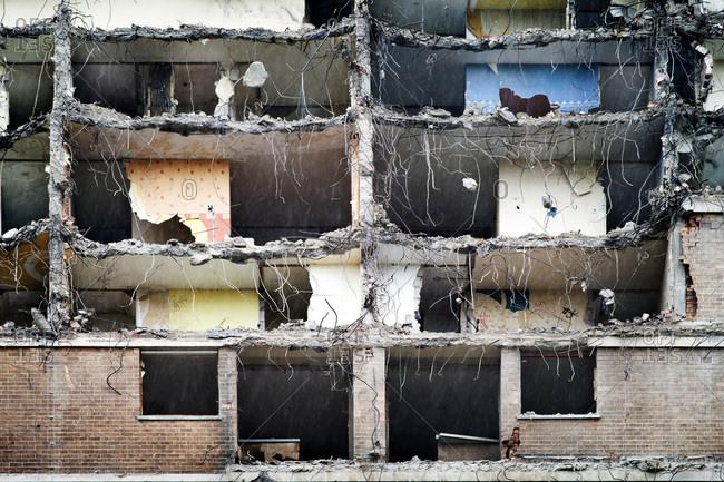 Council flats midway through demolition