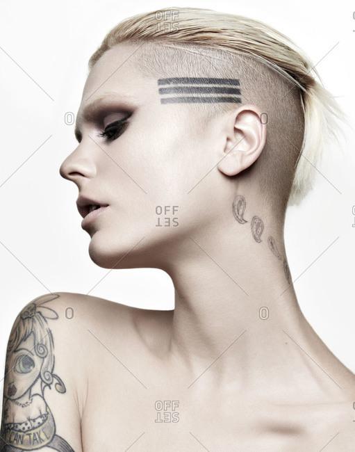 Blonde model in profile