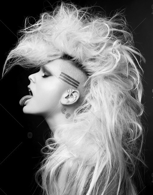 Blonde model with mohawk