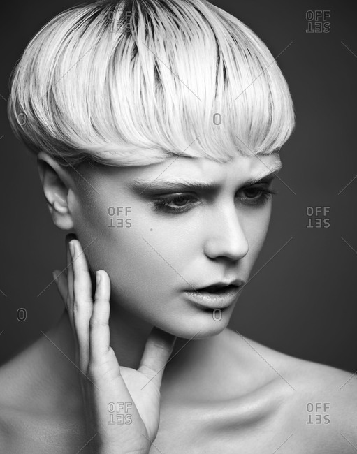 Blonde model with bowl cut