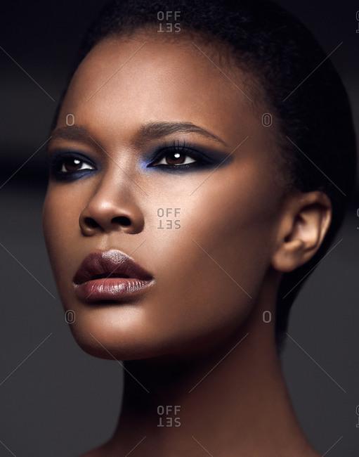 Head shot of dark-haired model