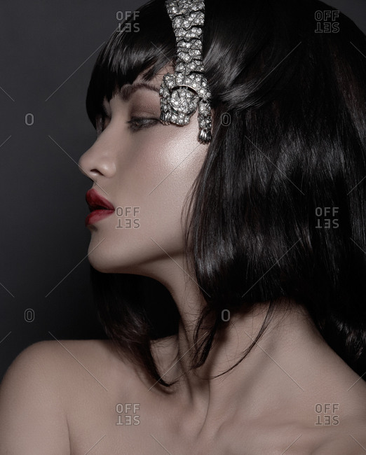 Brunette model with jewelry