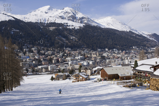 View of Davos from ski slopes