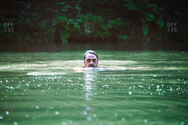 Man swimming in the river