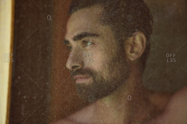 Portrait of young man through a mosquito screen