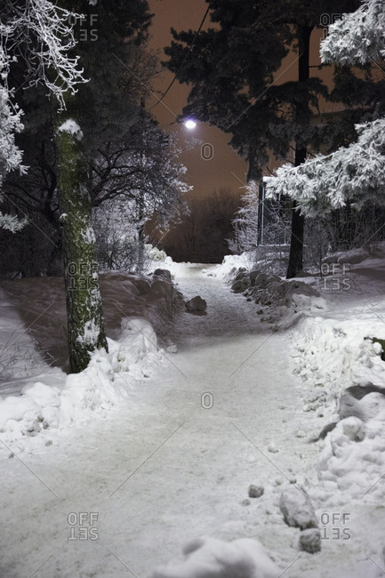 Footpath covered by snow