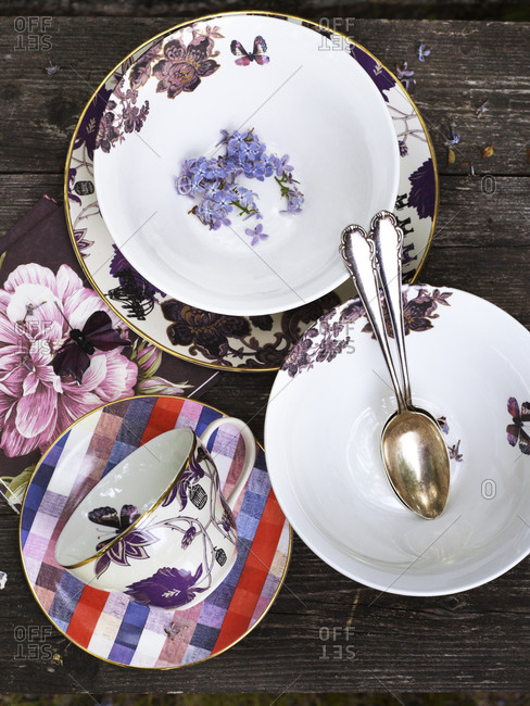 Top view of colorful tableware