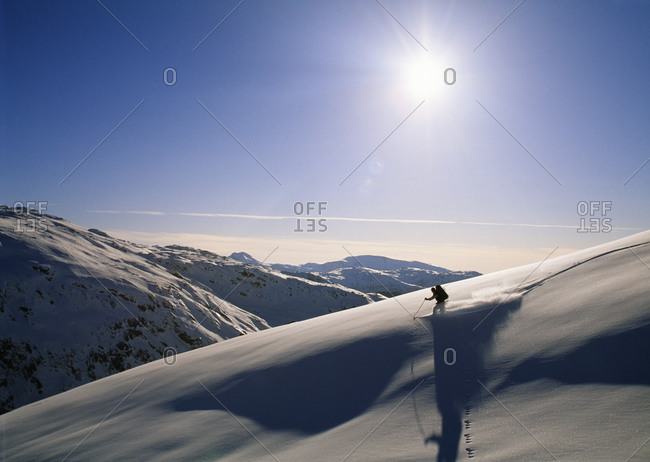 Skier on a snowy mountain