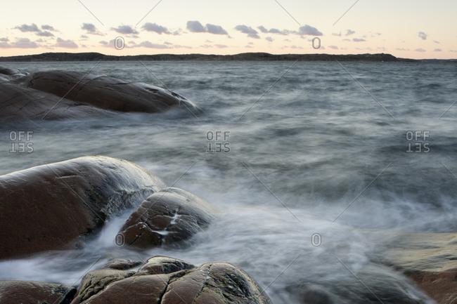 Waves crashing in the rocks